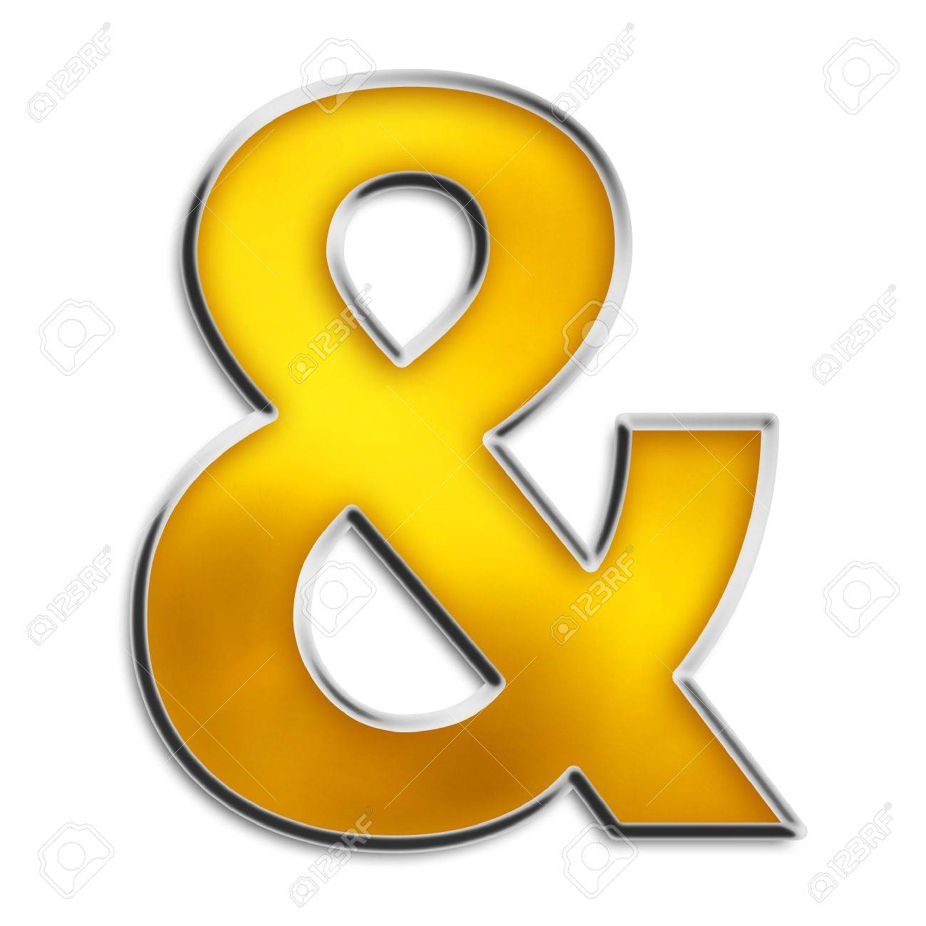 Ampersand symbol & in shiny yellow gold isolated on white series Stock Photo - 2989071