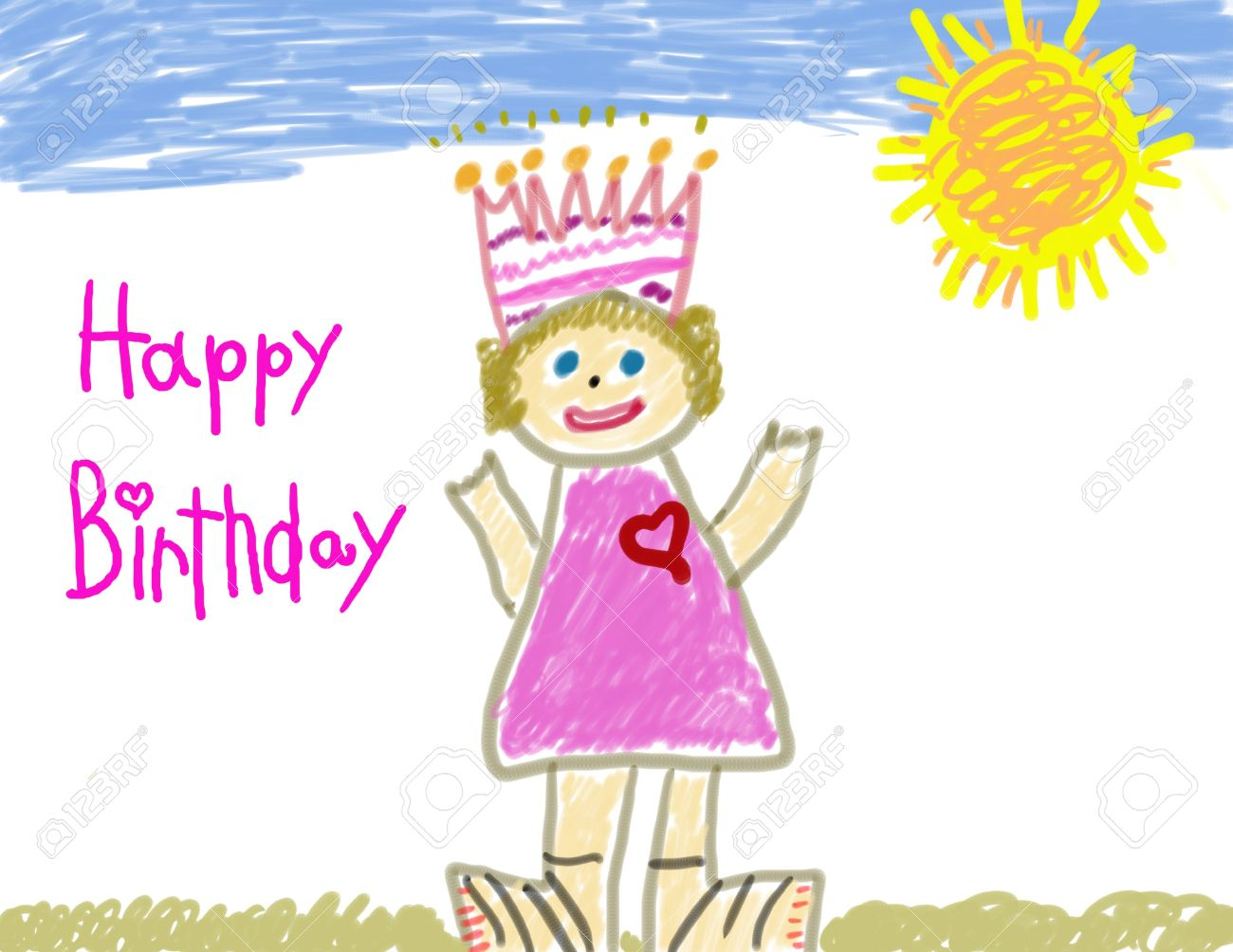 Happy Birthday Child Drawing Stock Photo