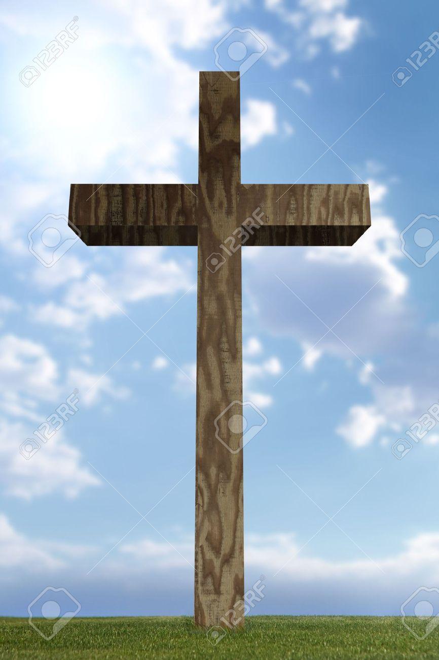 3d Wooden Cross In Open Field