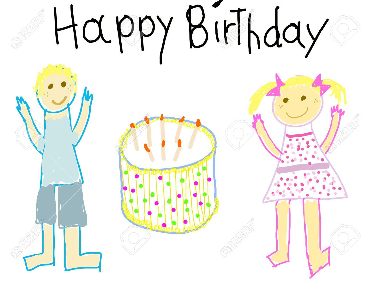 child like drawing of a boy girl with happy birthday stock photo
