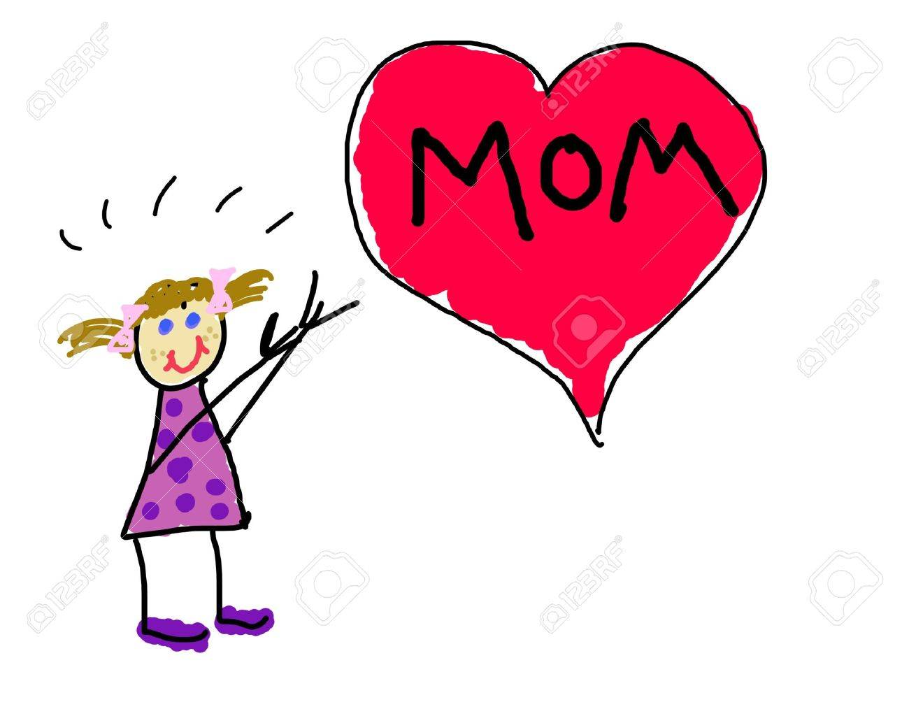 Little girl's drawing for Mom Stock Photo - 3317396