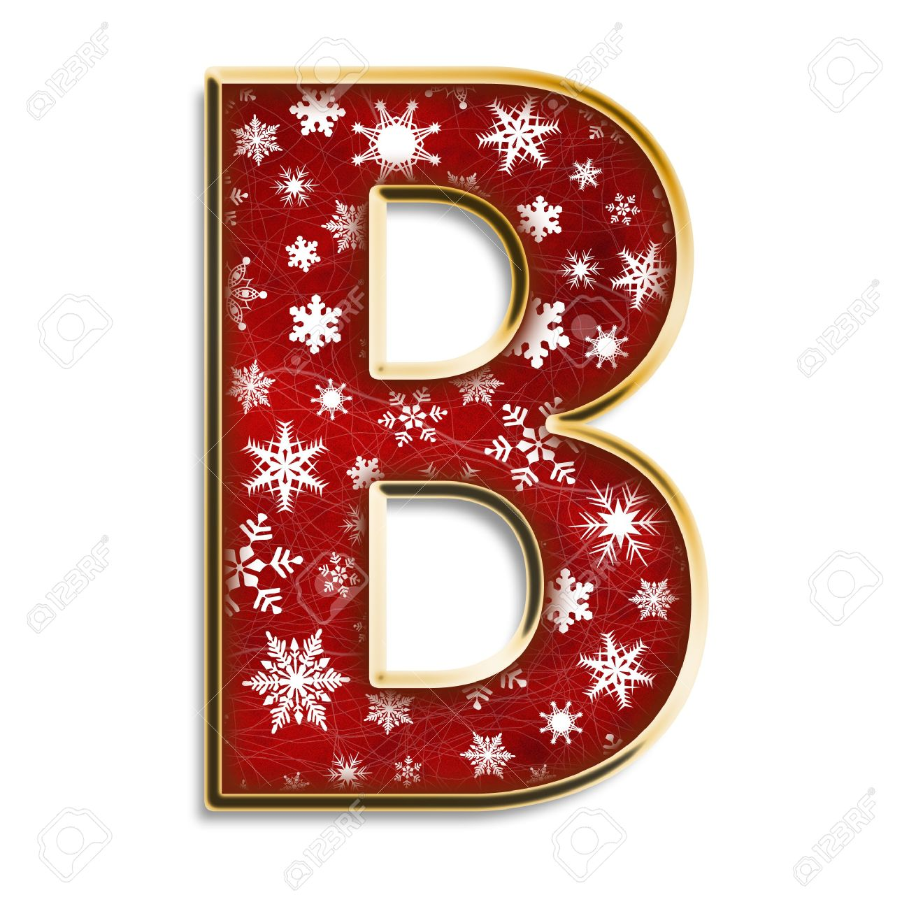 White Snowflakes On Red With Gold Capital Letter B Isolated On