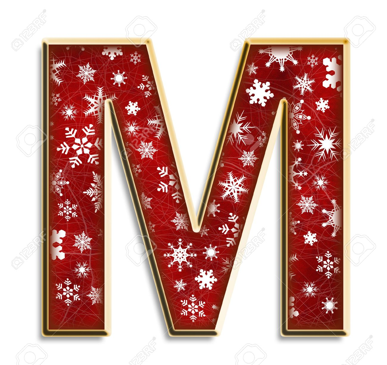 White Snowflakes On Red With Gold Capital Letter M Isolated