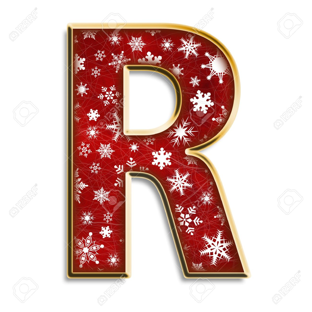 White Snowflakes On Red With Gold Capital Letter R Isolated On