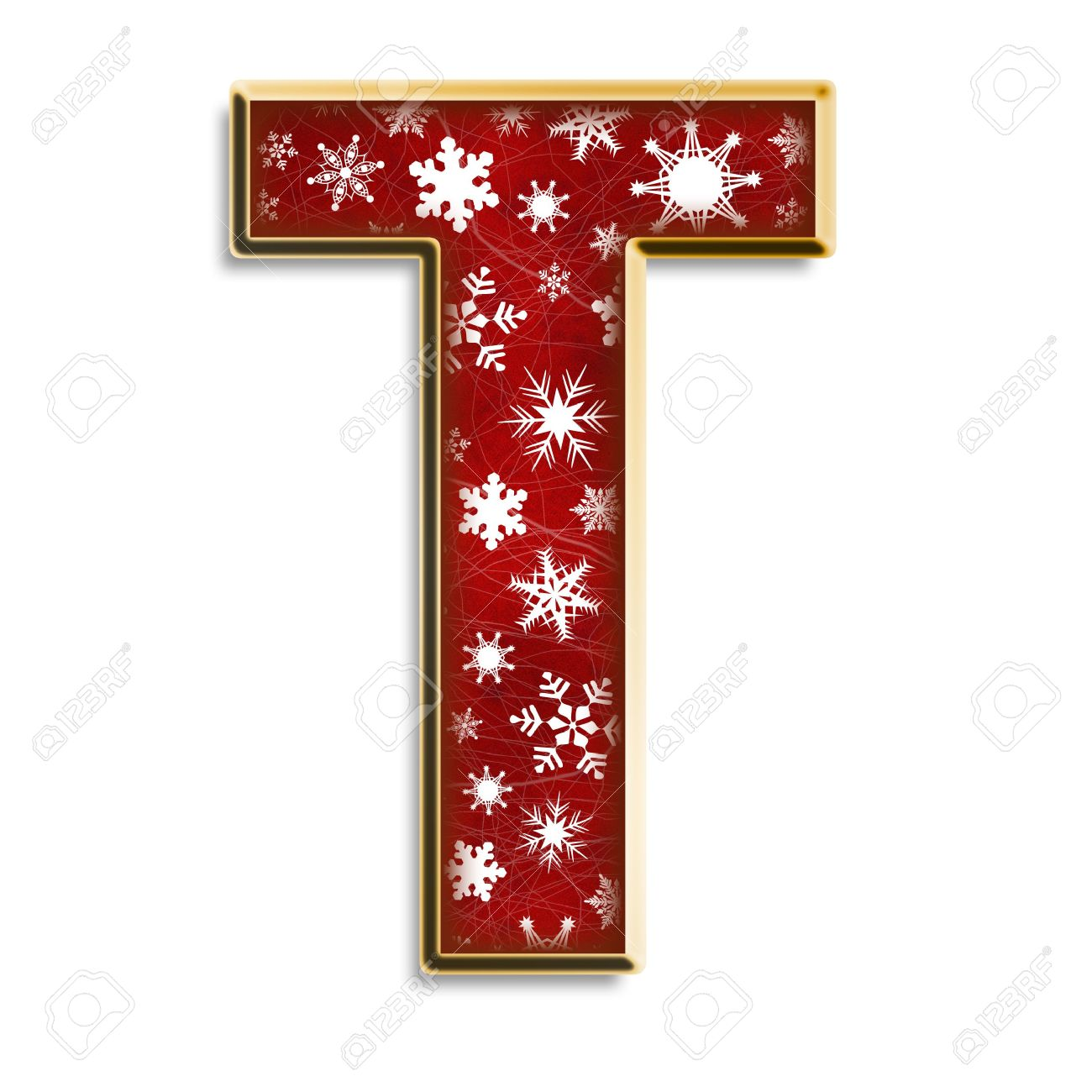 White Snowflakes On Red With Gold Capital Letter T Isolated On