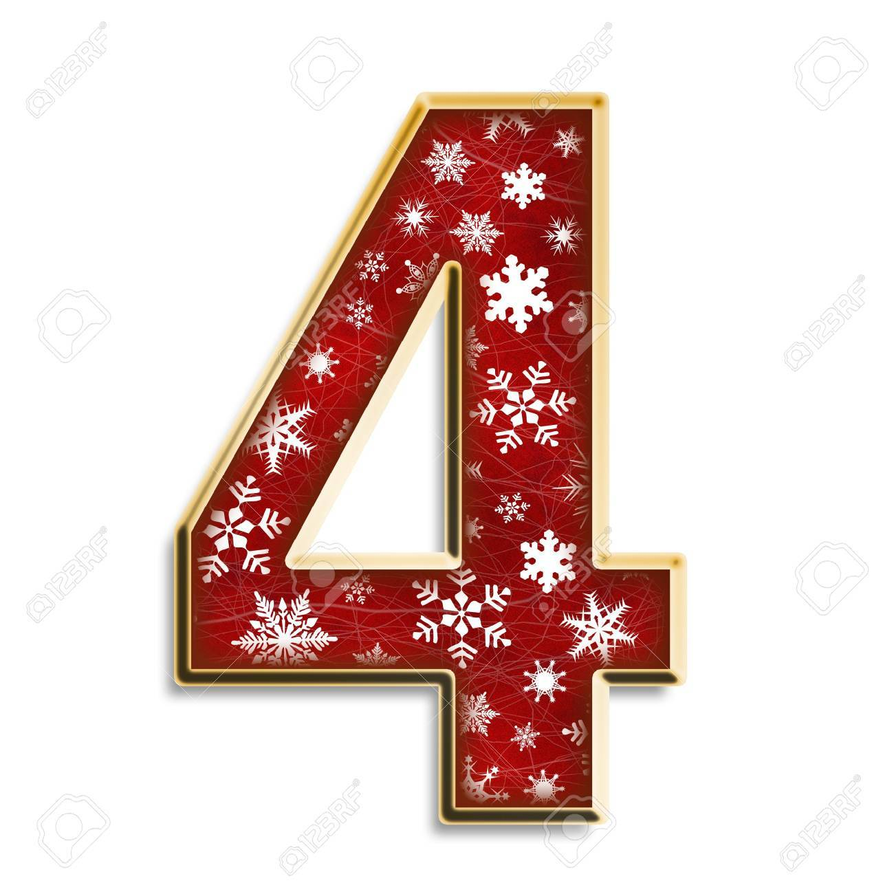 White snowflakes on red with gold number four isolated on white Stock Photo - 3425023