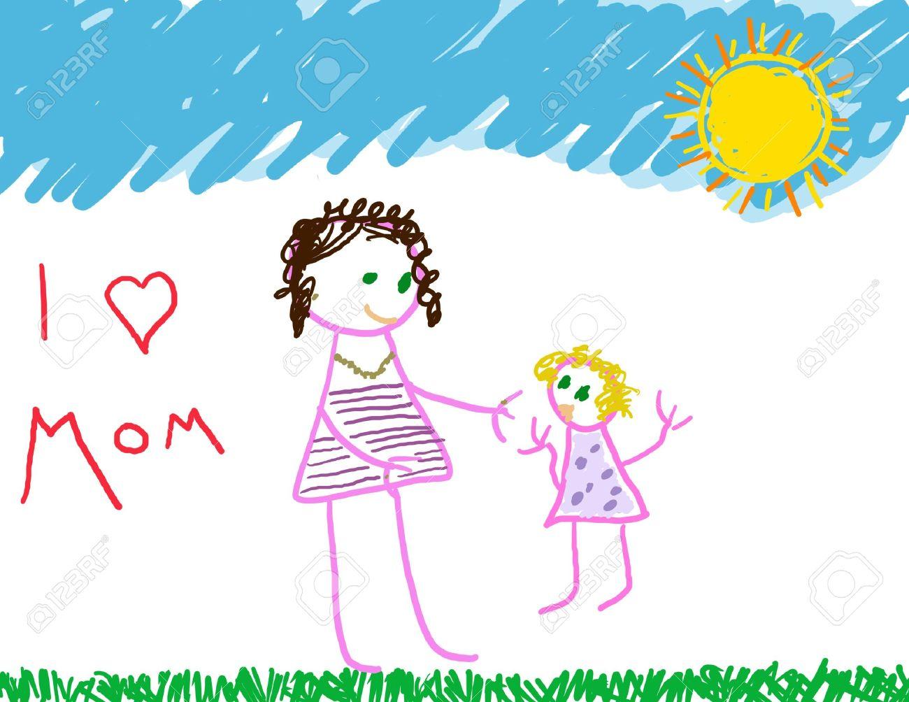 J Adore Le Dessin De La Mère Maman Et Sa Fille