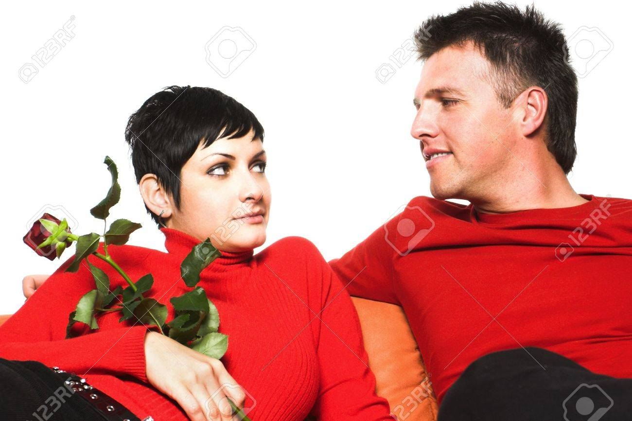 Young couple is having a date. They are looking at each other but they are taking only the first steps. Stock Photo - 428197