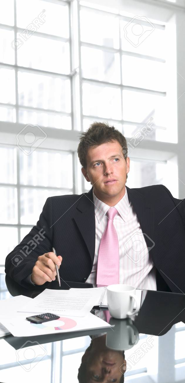 Handsome and successful businessman signs a contract in a modern office. Stock Photo - 1422593