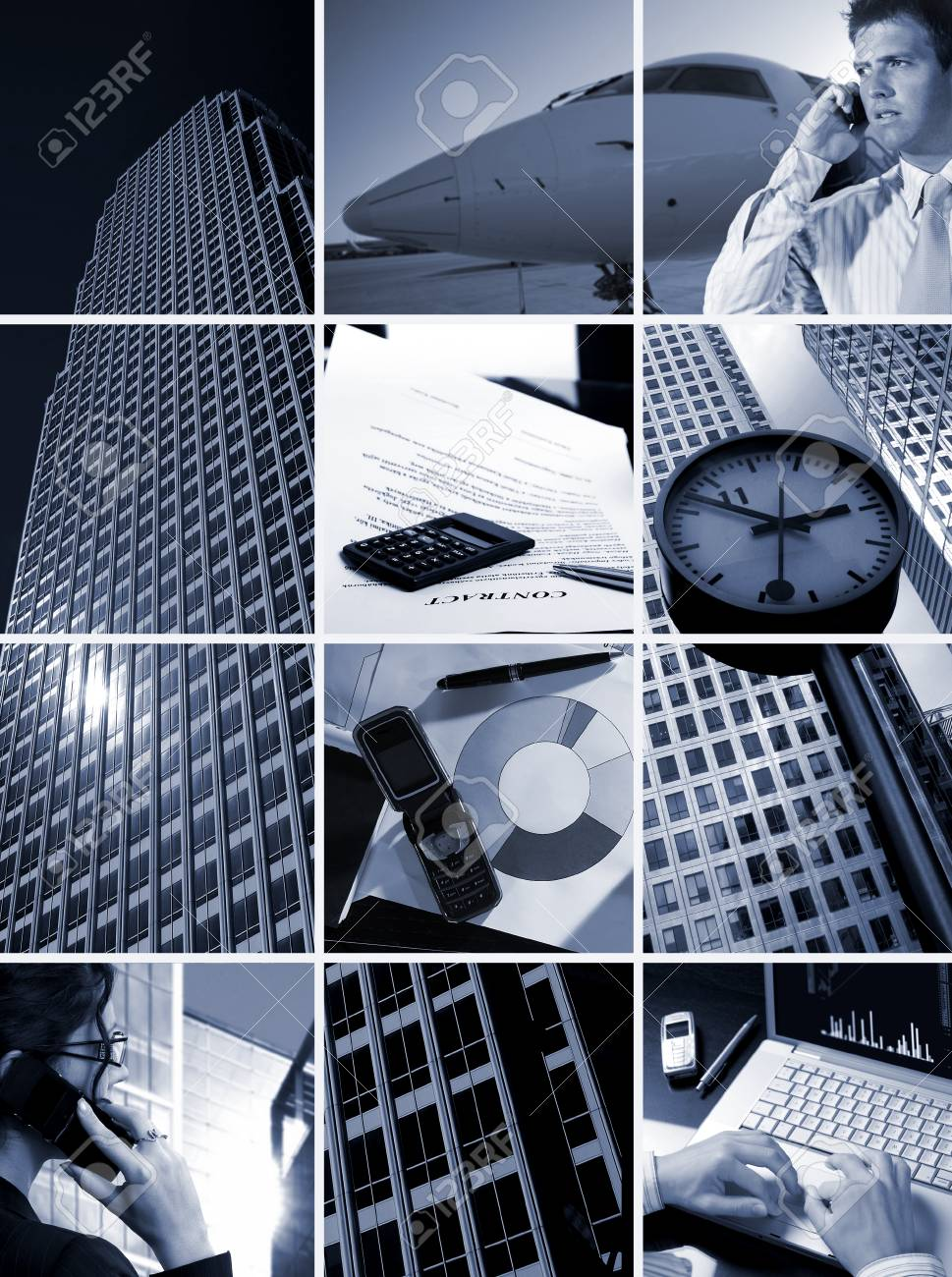 Conceptual image-grid of business photos: 'Time is Money' Stock Photo - 1422656