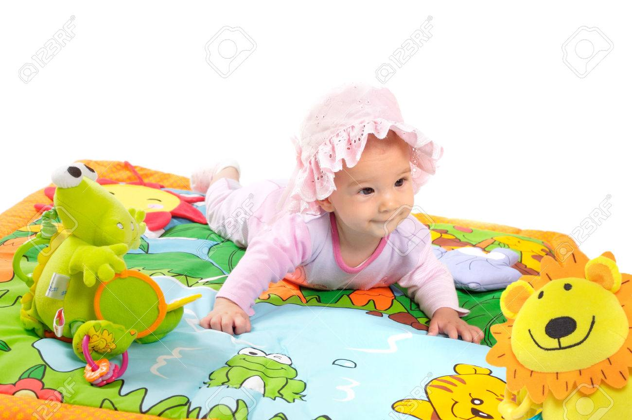 8 Months Old Baby Girl Enjoy Playing With Soft Baby Toys Studio