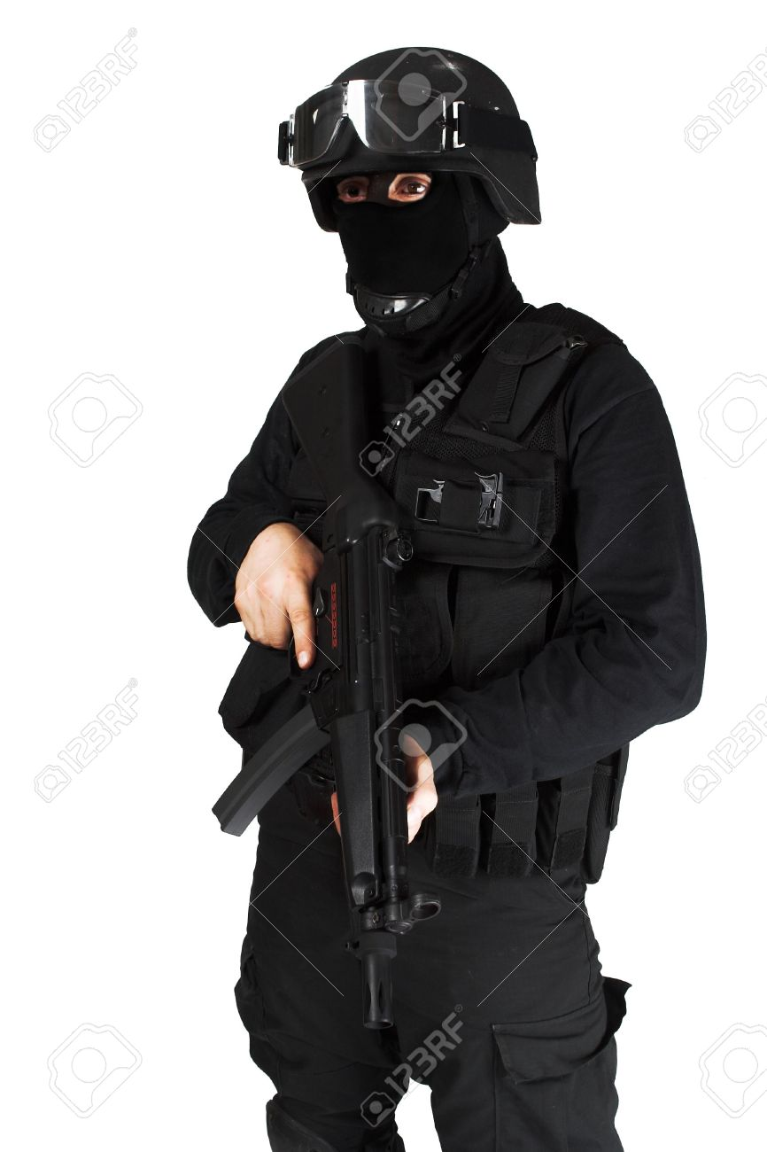 Special force soldier in black tactical suit. Stock Photo - 1809611