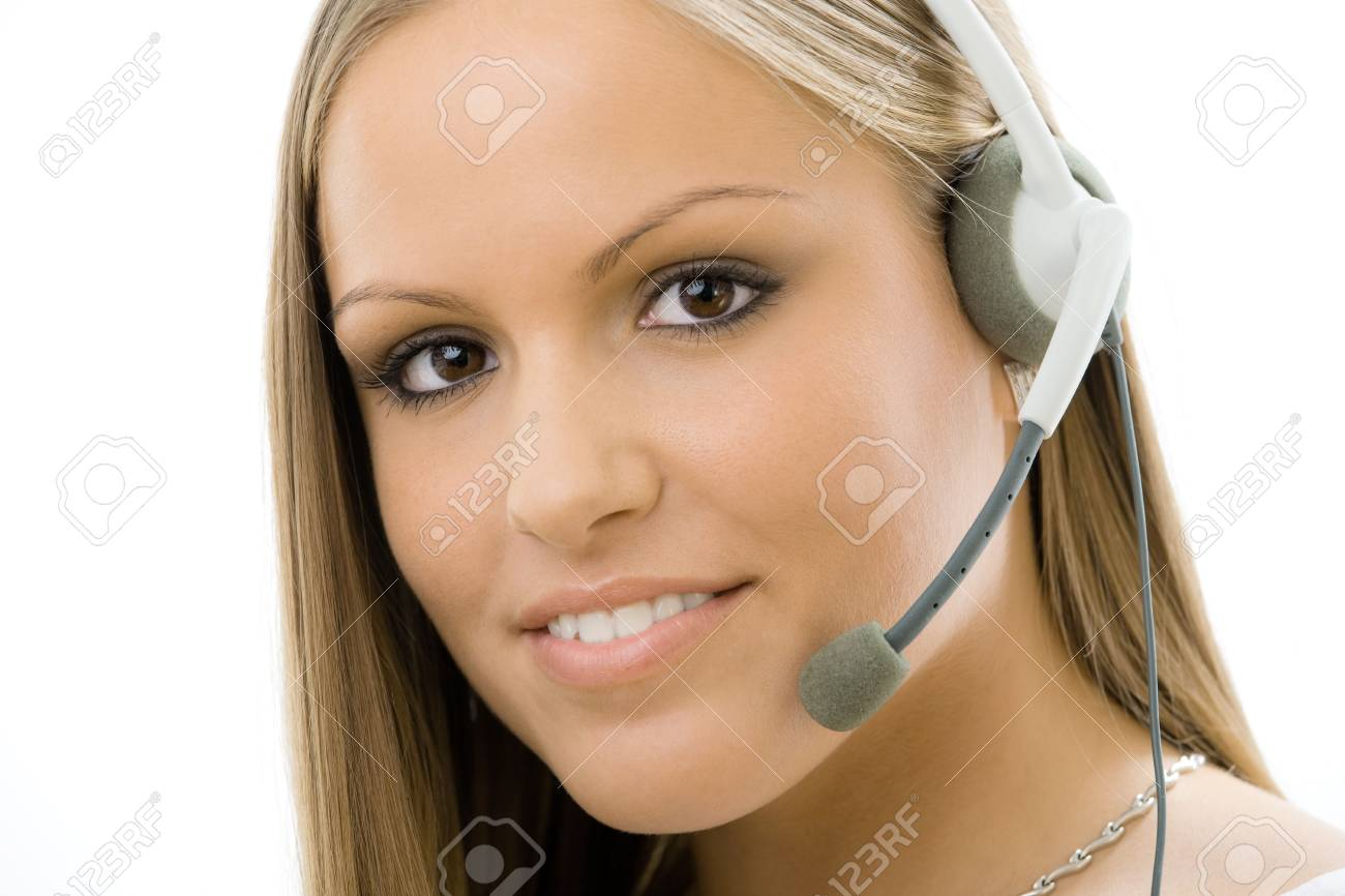 Young happy beautiful customer service operator girl in headset, smiling, isolated on white background. Stock Photo - 5101702