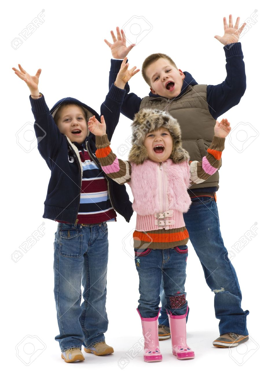 Group of 3 happy children posing together, lauging and waving. Isolated on white background. Stock Photo - 5724662
