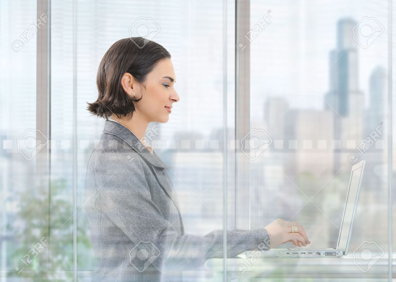 Young businesswoman sitting at desk in modern office behind glass wall, using laptop computer, smiling. Stock Photo - 5758641