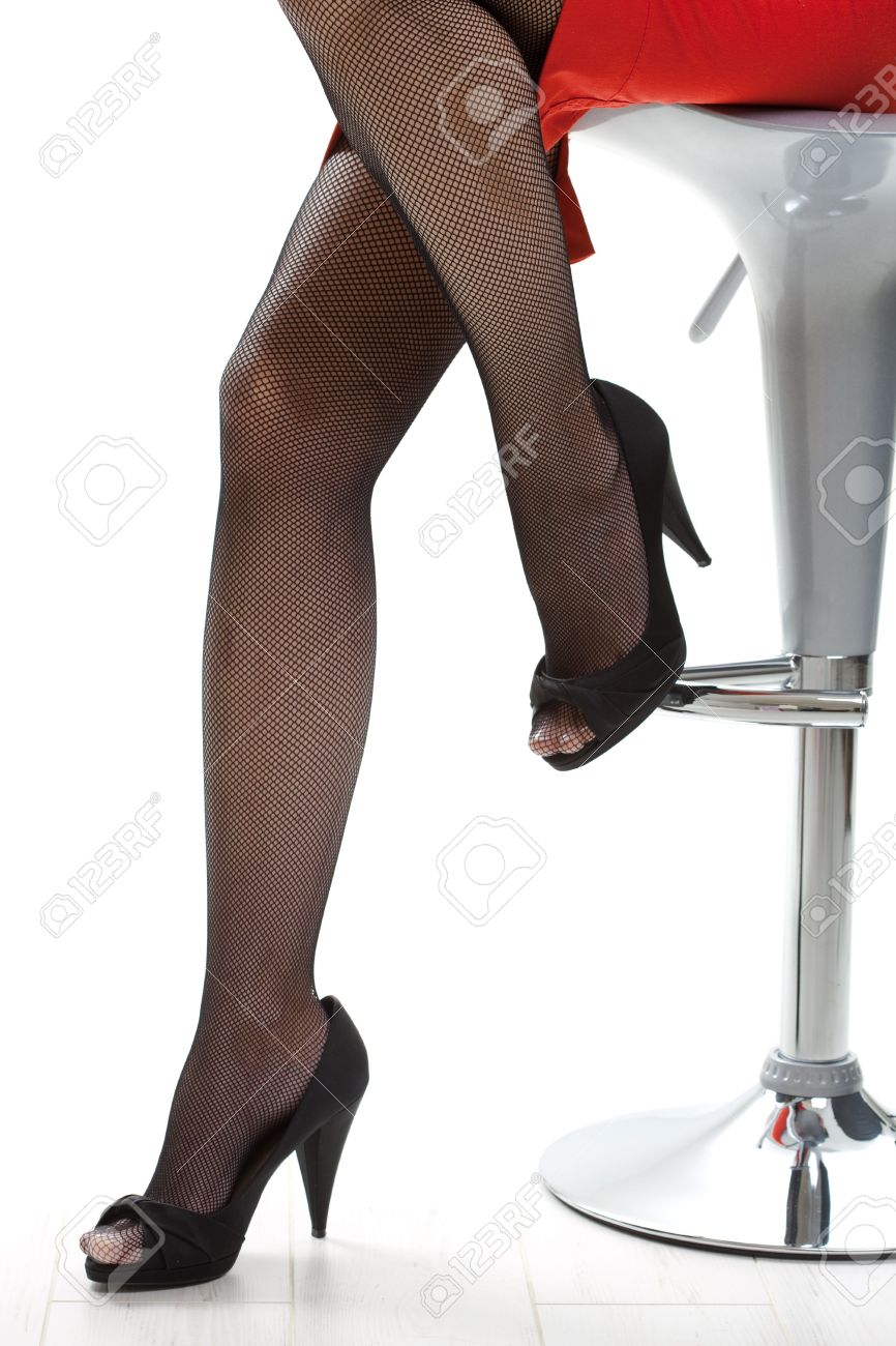Closeup Of Female Legs In Black Stockings And High Heels. Stock ...
