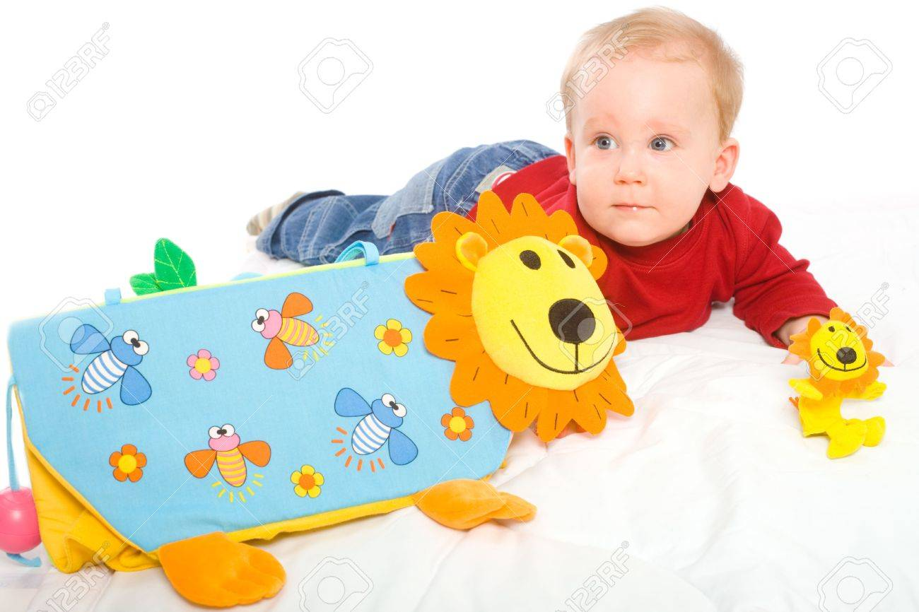 Baby Boy 6 Months Old Playing With Soft Toys Toys Are Property