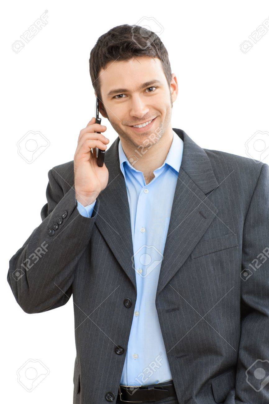 Portrait of casual businessman talking on mobile phone. Isolated on white. Stock Photo - 6224941