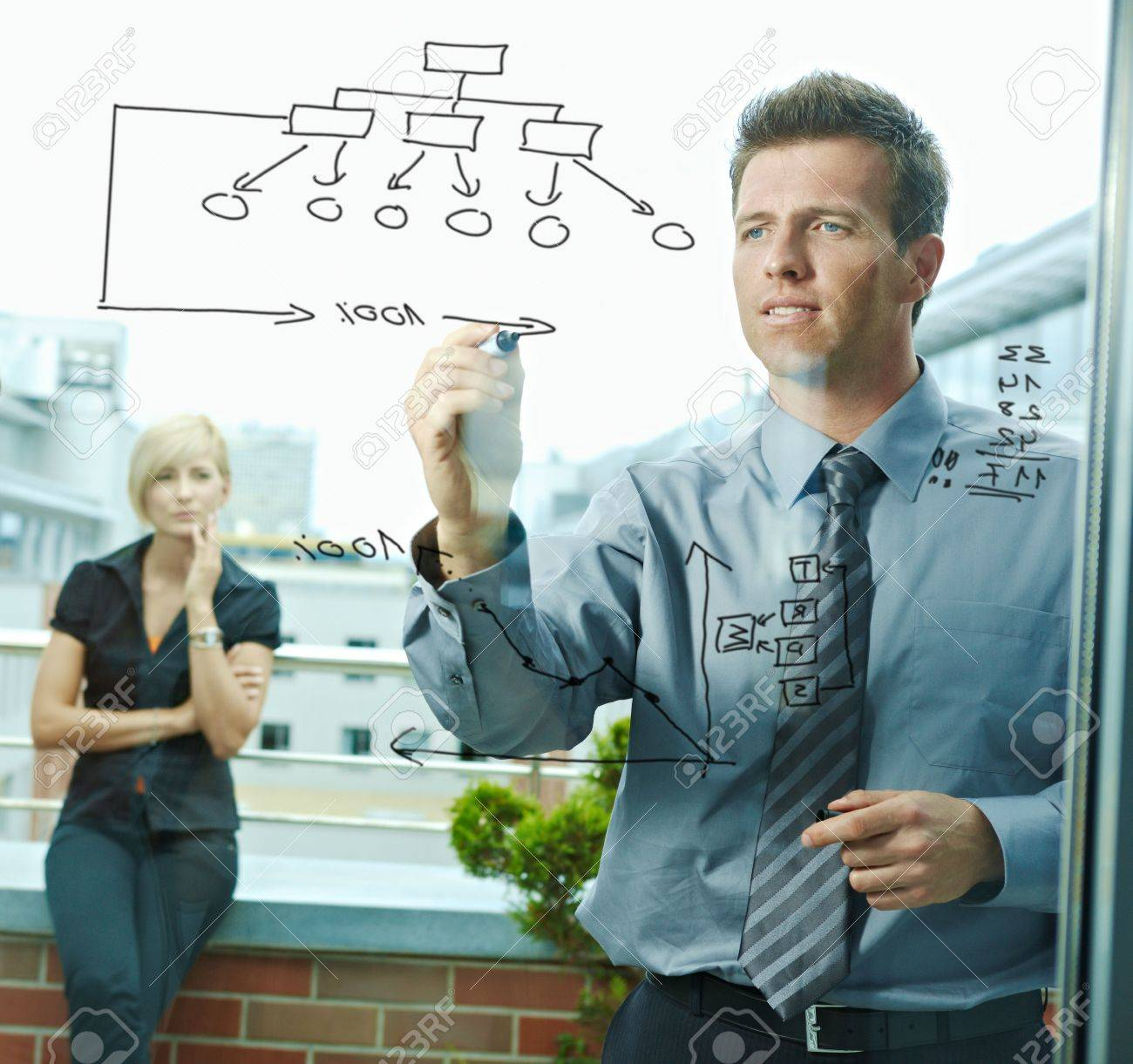 Business team planning, businessman thinking drawing diagram on window. Outdoor of office on terrace. Stock Photo - 6254387