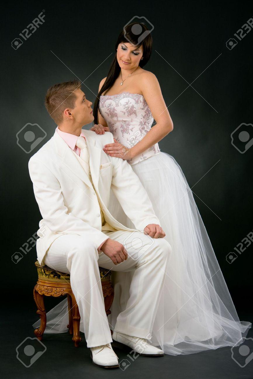 Portrait Of Wedding Couple. Bride Wearing Romantic White Wedding ...