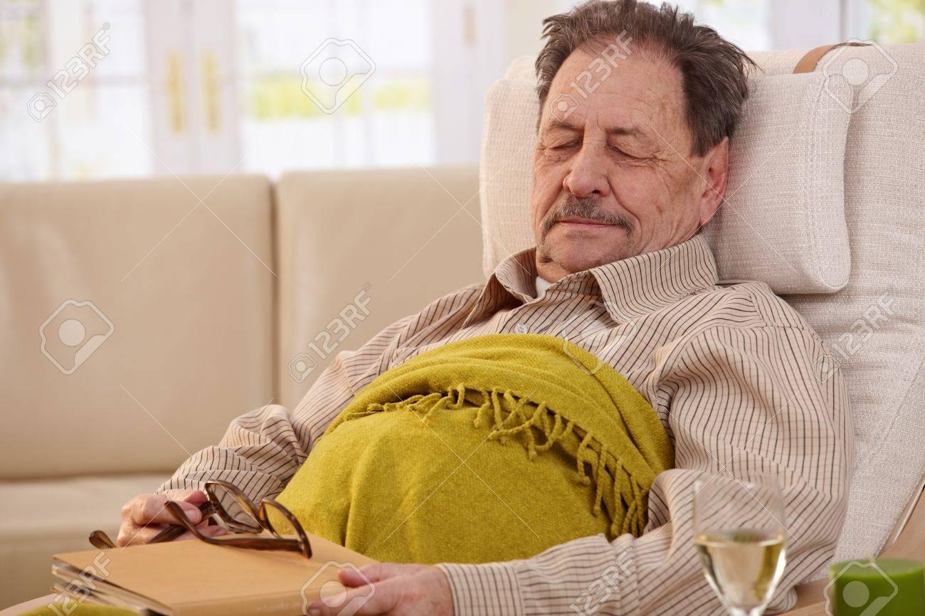 Senior man lying in armchair, fell asleep while reading book. Stock Photo - 7249294