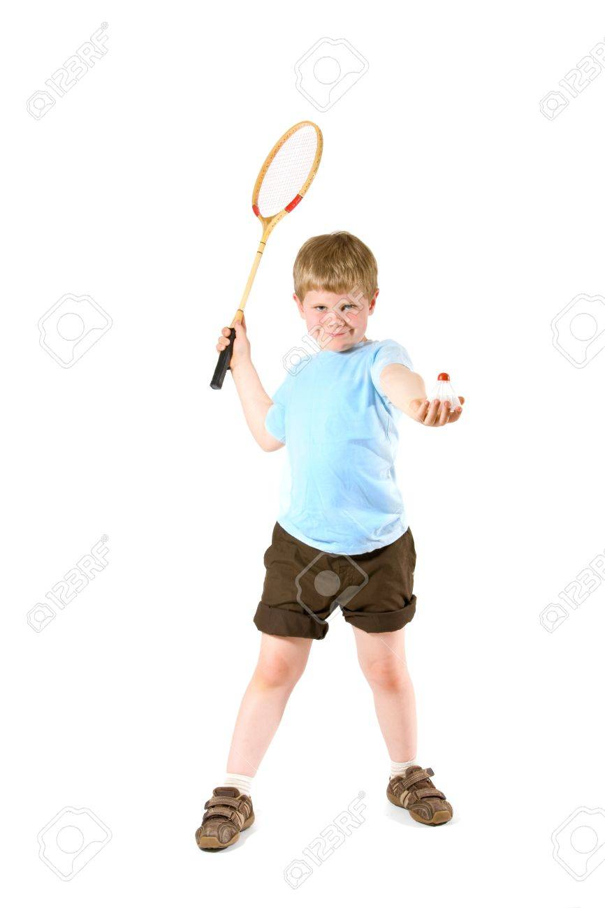 Young boy playing badminton, isolated on white. Stock Photo - 7283682