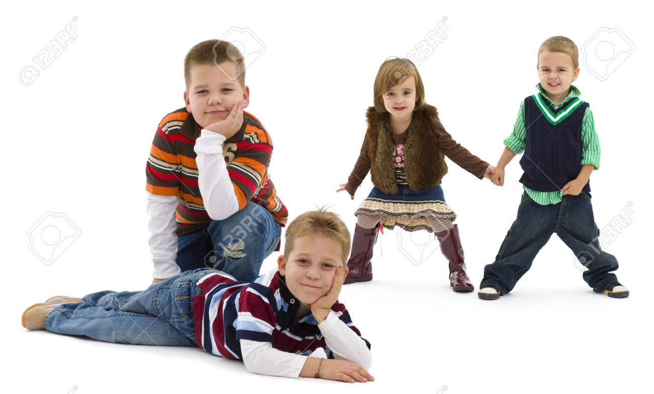 Group of 4 happy children posing together.  smiling. Isolated on white background. Stock Photo - 7284138