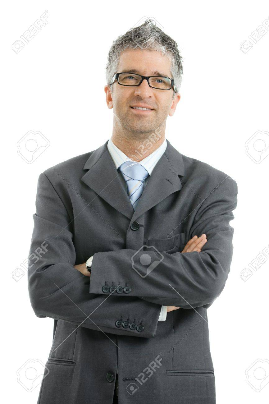 Portrait of businessman wearing gray suit and glasses, standing with arms crossed, smiling.  Isolated on white background. Stock Photo - 7400651