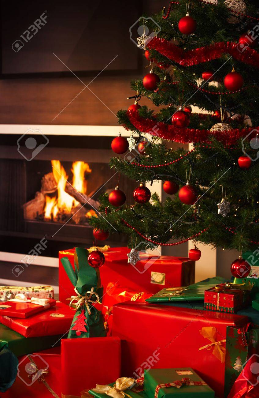 presents and christmas tree in living room. Stock Photo - 7792217