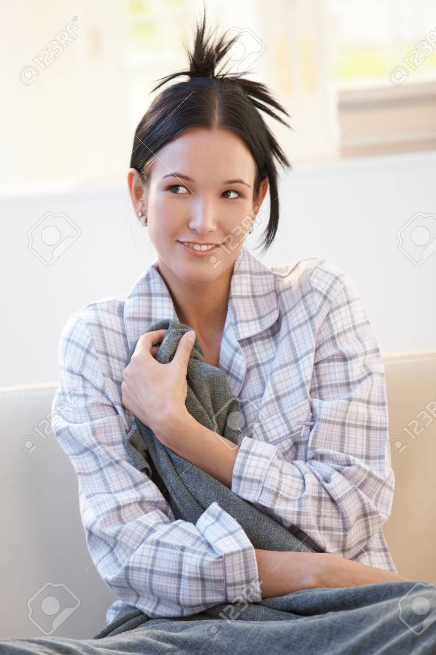33f864c232 Cheerful Woman In Pyjama Cuddling With Blanket