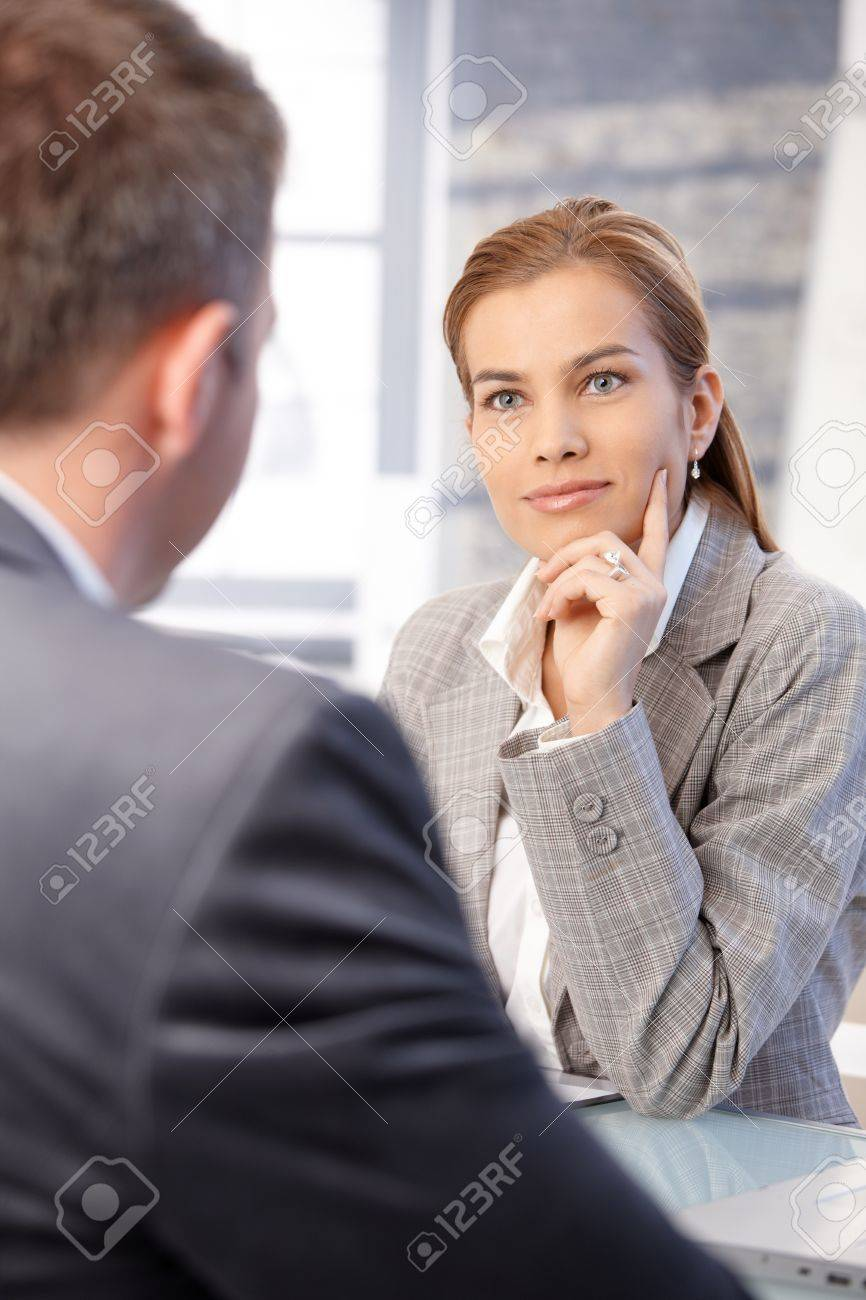 beautiful businesswoman interviewing male applicant in bright office smiling stock photo 8747141 beautiful bright office