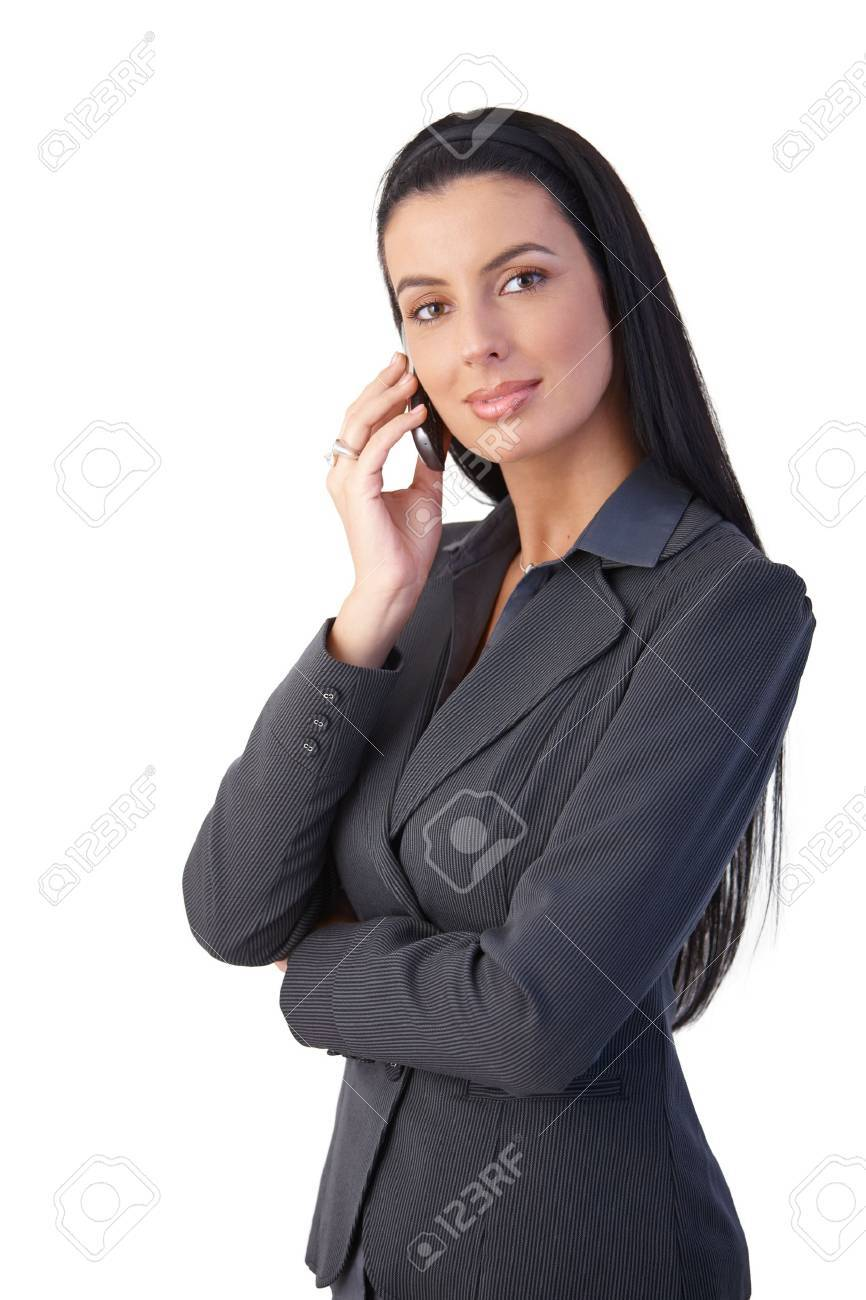 Confident smart businesswoman on mobile phone call, smiling at camera. Stock Photo - 8783242