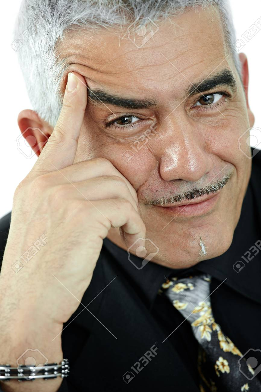 Portrait of mature man smiling and thinking, isolated on white background. Stock Photo - 8906526