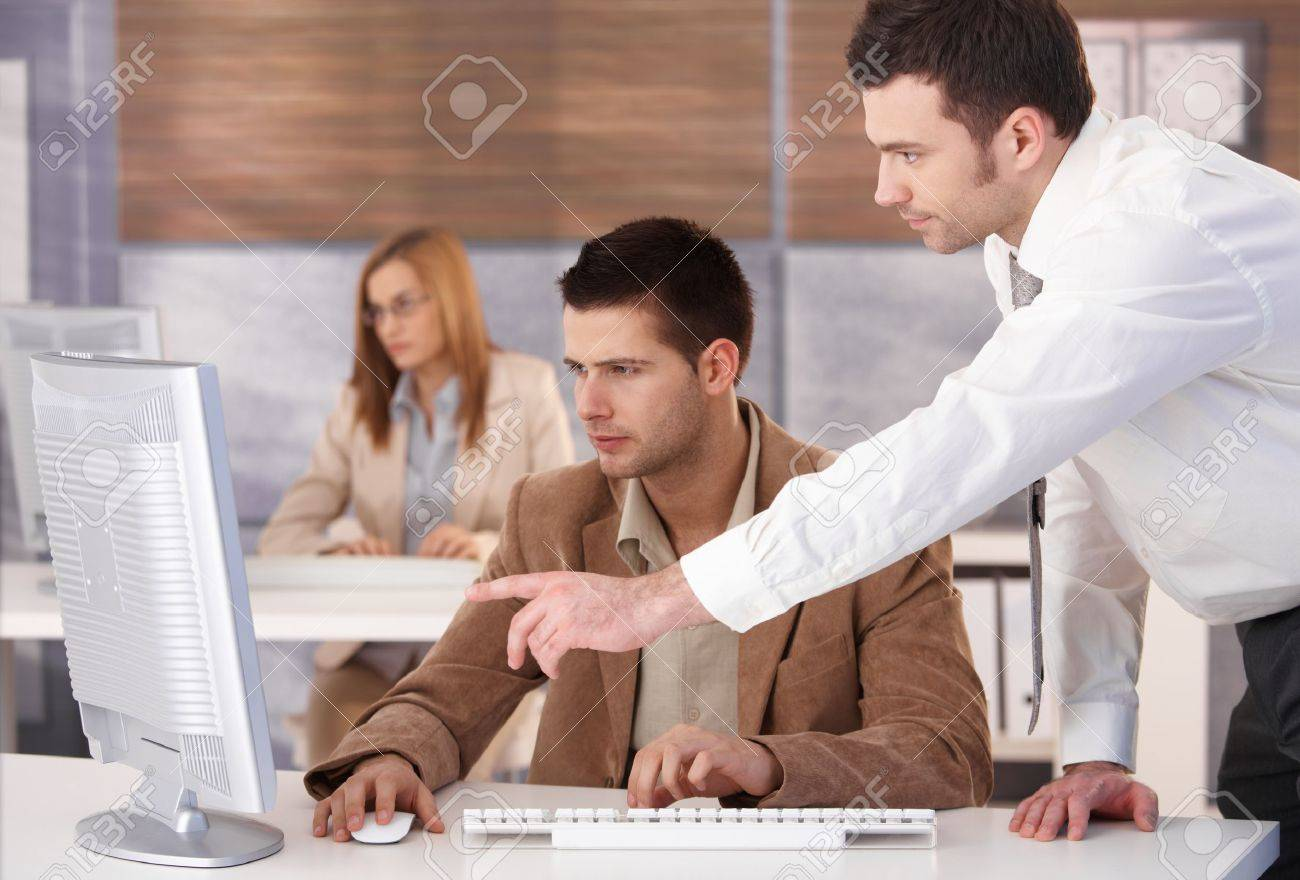 Young businesspeople participating at computer course. Stock Photo - 8951329