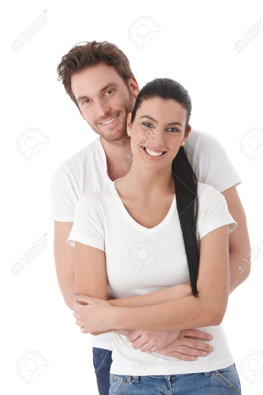 Portrait of happy young couple, hugging, smiling. Stock Photo - 9201732