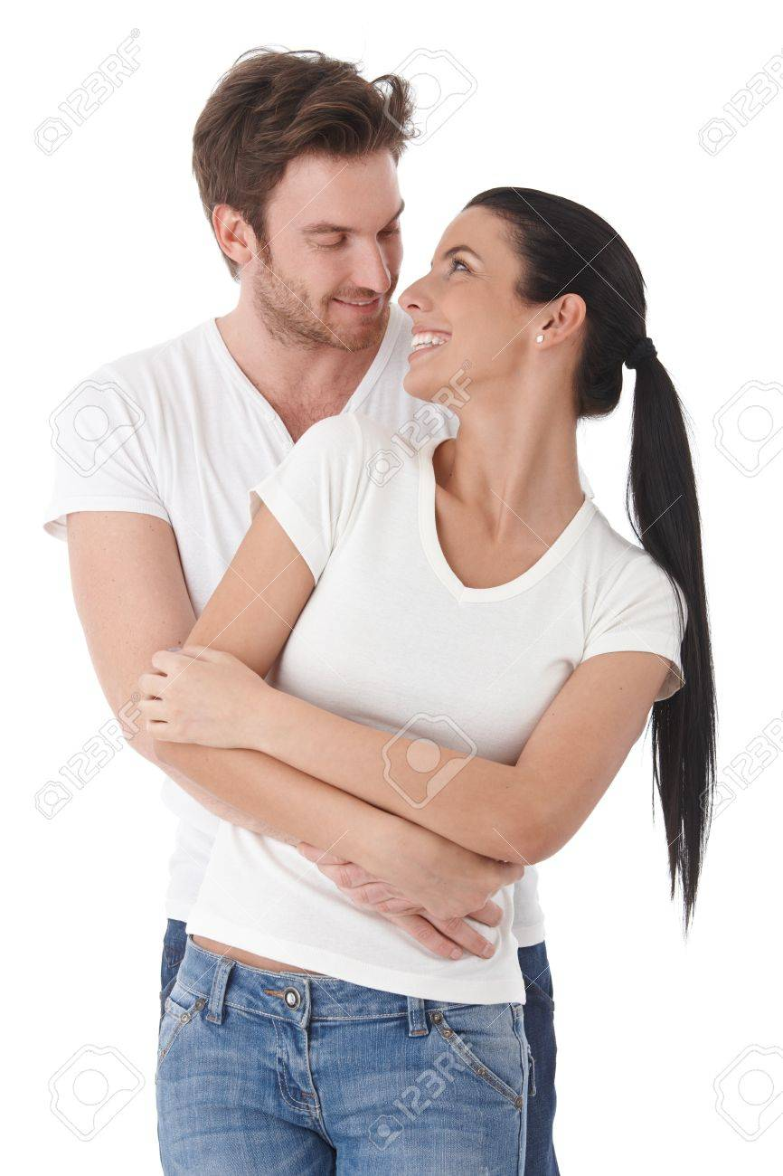 Young loving couple smiling happily to each other. Stock Photo - 9201848
