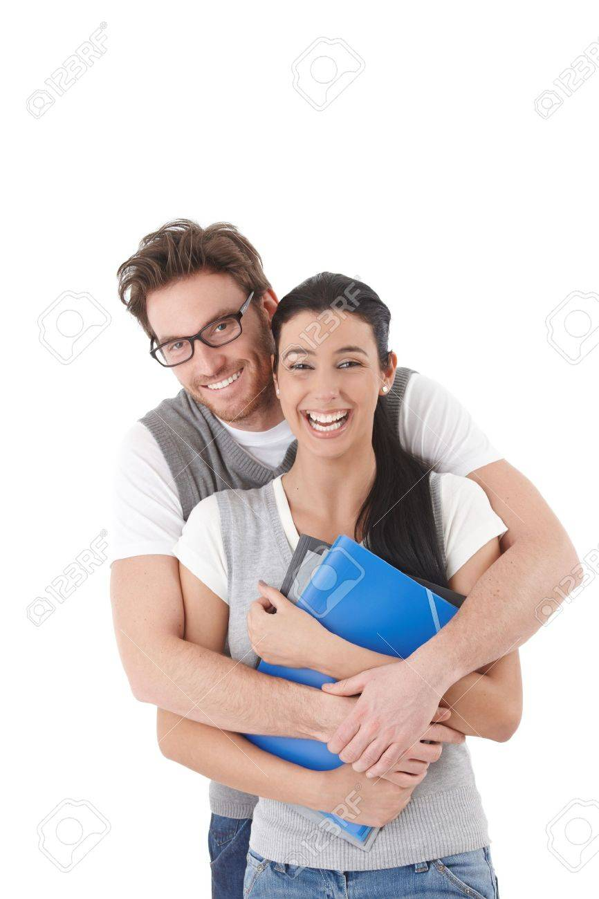 Loving students hugging each other, laughing. Stock Photo - 9201726