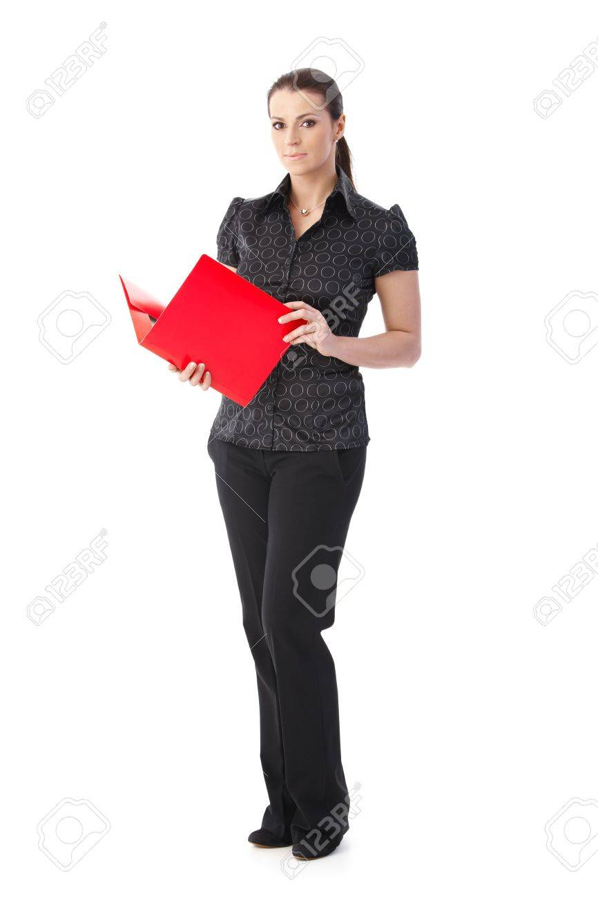 smart office worker w standing red folder handheld smart office worker w standing red folder handheld isolated on white stock photo