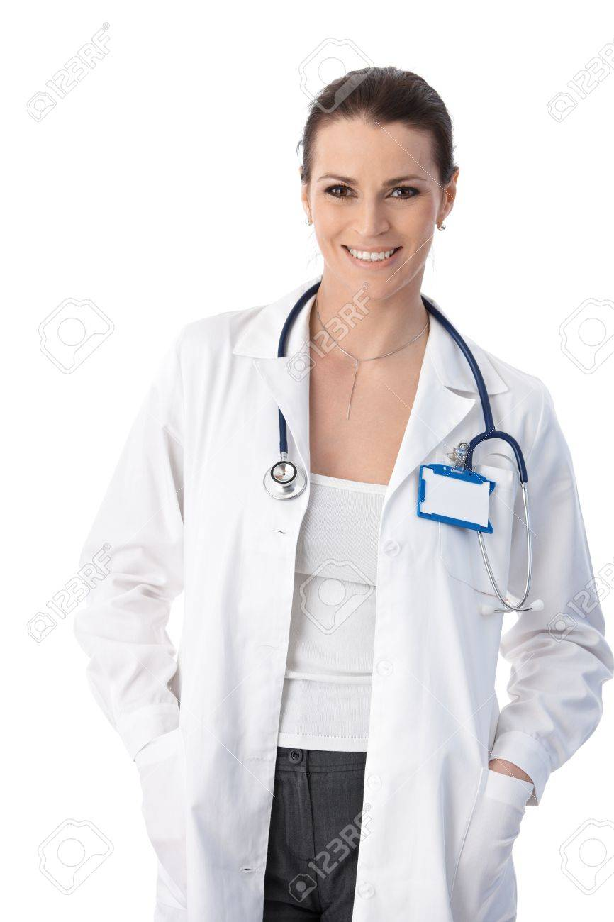 Studio portrait of happy medical expert woman, smiling at camera. Stock Photo - 9868552
