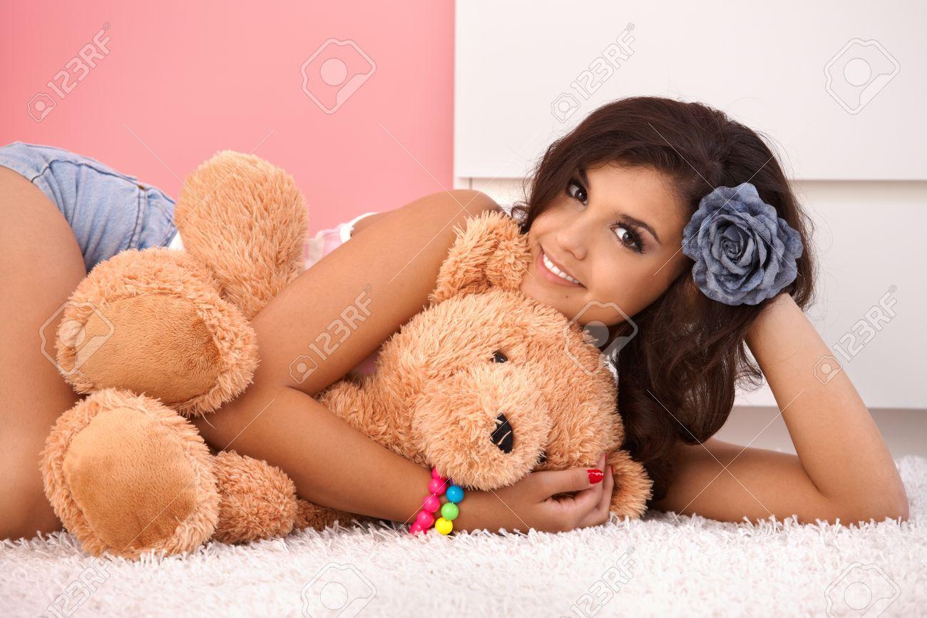 Sexy girl with teddy bear