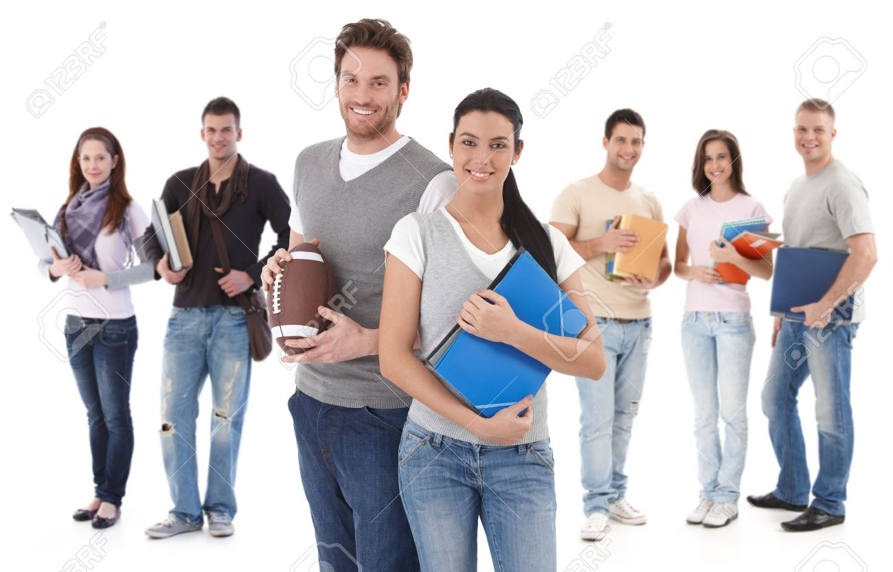 Group portrait happy of college students, smiling young couple in front. Stock Photo - 10818476