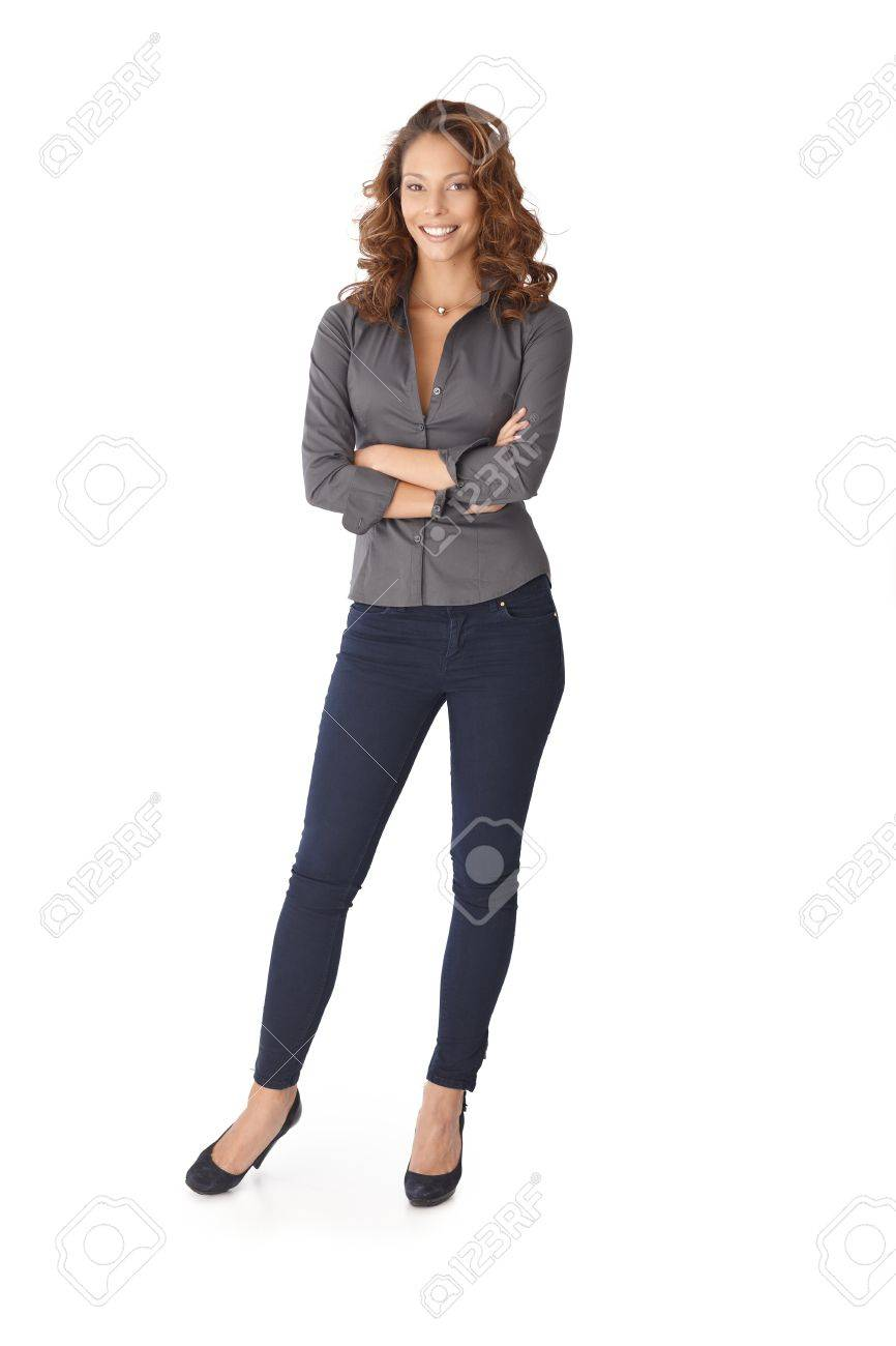 Happy girl smiling arms crossed over white background. Stock Photo - 13061132