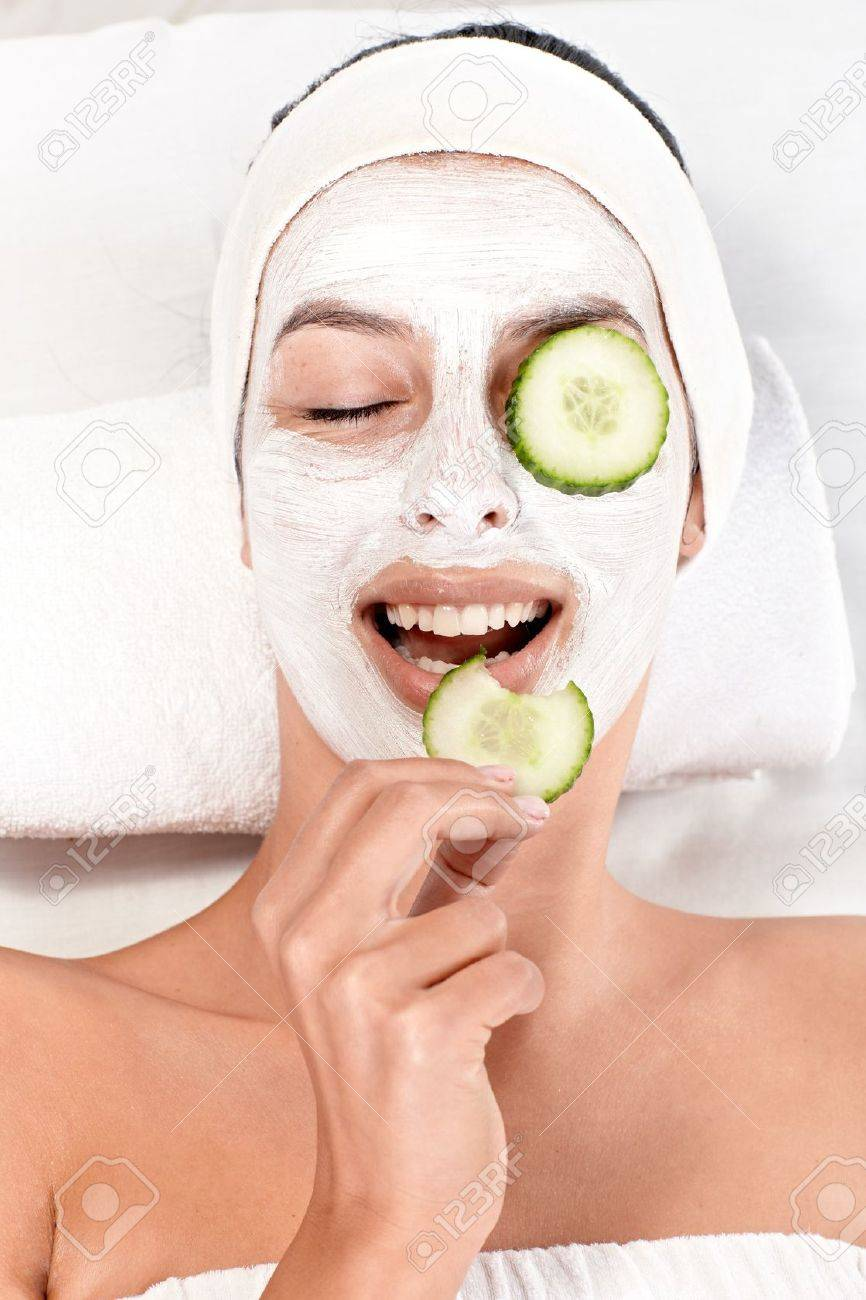 Cucumber Woman Young Cucumber Eyes On Face Having And Mask Biting
