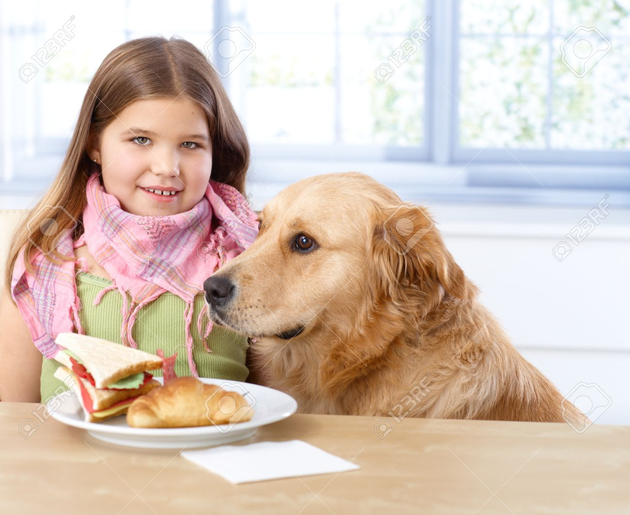 Portrait of little girl sitting at table having lunch, dog sitting next to her. Stock Photo - 13250598