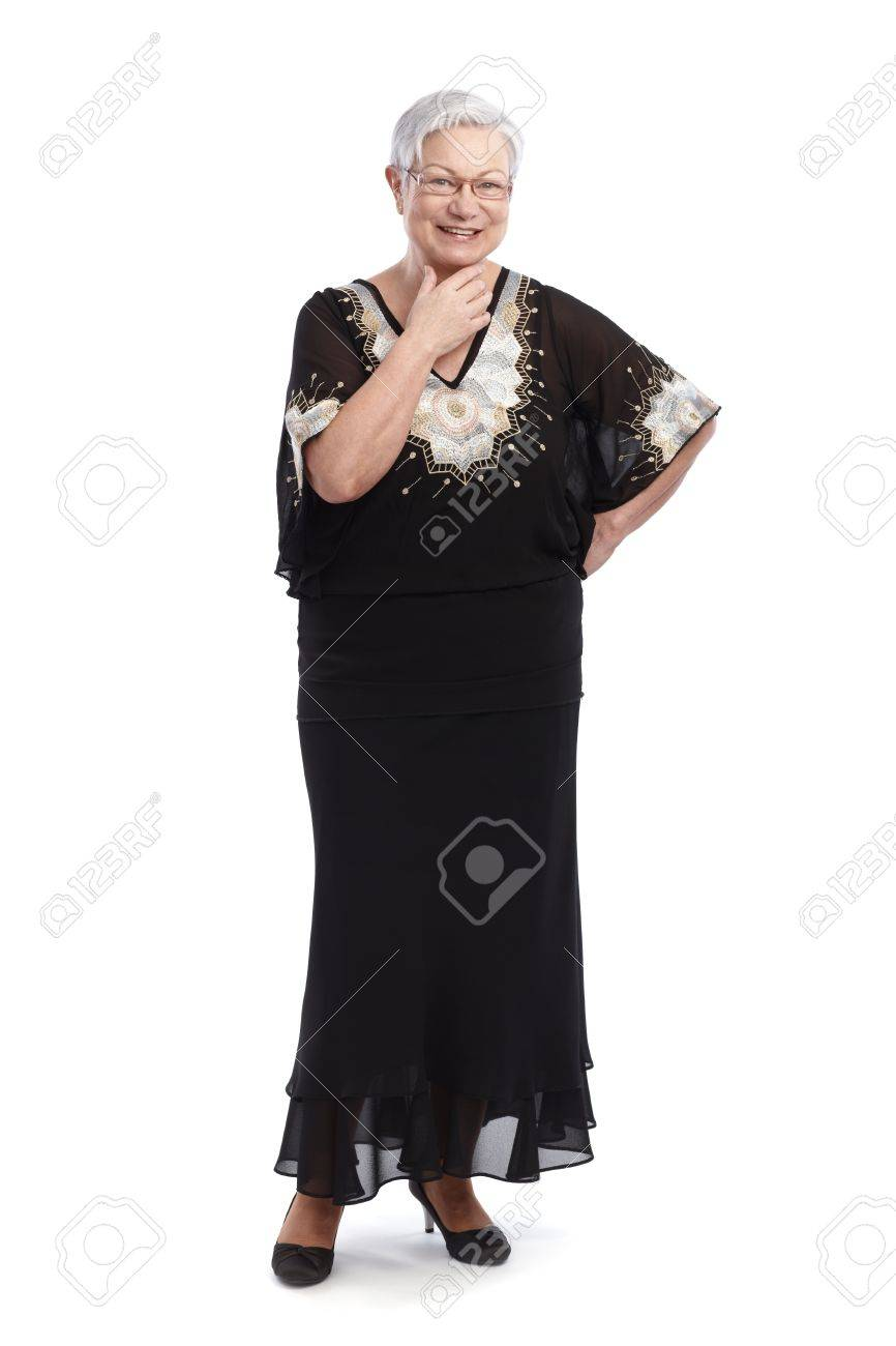 Elegant Old Lady In Black And White Evening Gown, Smiling 65533 ...
