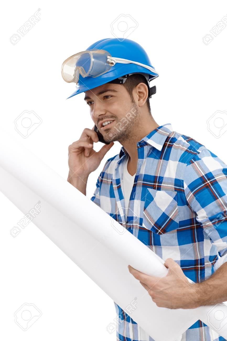 Young male architect on mobile phone busy by working. Stock Photo - 15032839