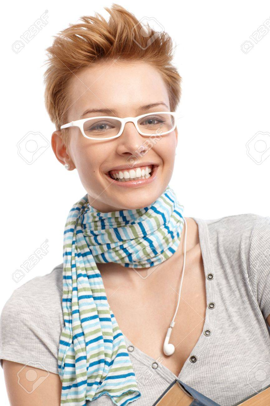 closeup portrait of happy young woman in white frame glasses stock photo 15100649