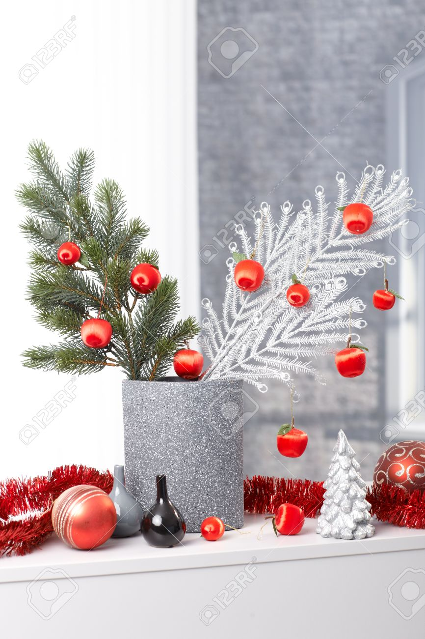 Modern Christmas Design Stylish Decoration With Tree Branch Stock Photo Picture And Royalty Free Image Image 15312303