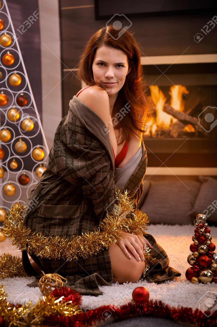 Sexy Woman Posing In Bra And Dressing Gown At Christmas Tree ...