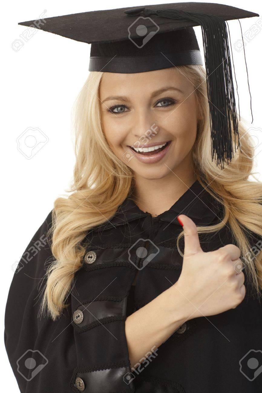 Closeup photo of happy blonde female graduate showing thumb-up sign. Stock Photo - 17975220